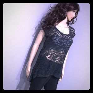 Lovely Black Sheer Lace High Low Top